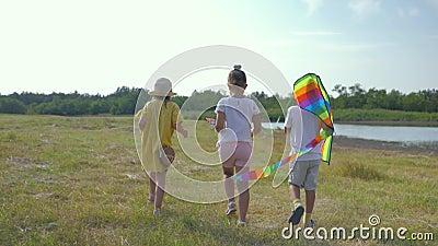 Aktiv im Freien, kleine glückliche Freunde wandern im Sommerurlaub in der Landschaft auf der grünen Wiese mit Drachenfliegen stock video footage