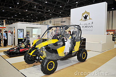 Al Forsan Desert Vehicles at Abu Dhabi International Hunting and Equestrian Exhibition (ADIHEX) Editorial Stock Image