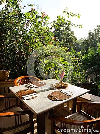 Al fresco outdoor dining area restaurant