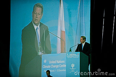 Al Gore Speaking at the UN Climate Summit Editorial Photography