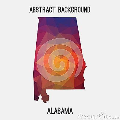 Alabama map in geometric polygonal,mosaic style. Vector Illustration