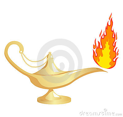 Aladdin`s lamp with fire