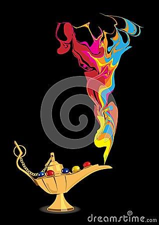 Aladdin s magic lamp with abstract genie figure