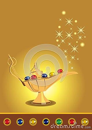 Aladdin s magic lamp with pearls