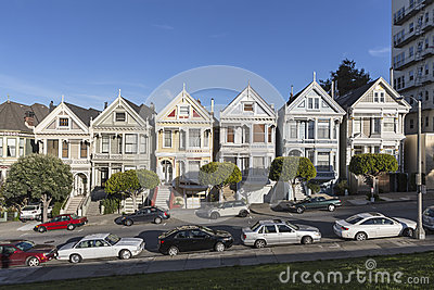 Alamo Square Victorians San Francisco Editorial Stock Photo