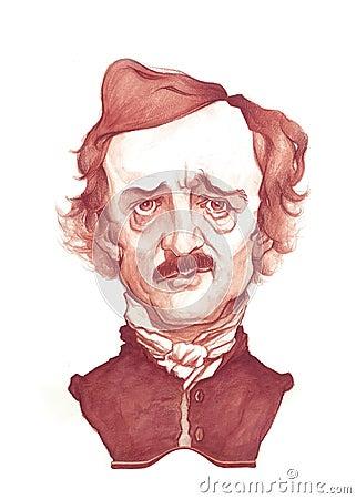 Alan Poe Caricature Sketch Editorial Image
