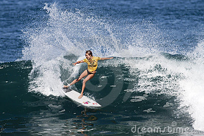 Alana Blanchard Surfing in Womens Hawaiian Pro Editorial Photography