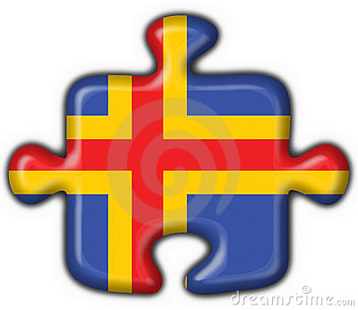 Aland aaland button flag puzzle shape