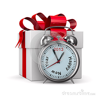 Free Alarm Clock And White Gift Box Stock Image - 26673781