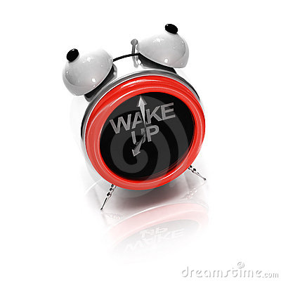 Alarm clock as stylized shouting face
