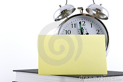 Alarm clock with blank adhesive note