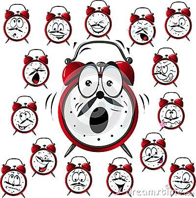 Free Alarm Clock Cartoon With Many Facial Expressions Royalty Free Stock Photography - 31993527