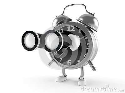 Alarm clock character with binoculars Stock Photo