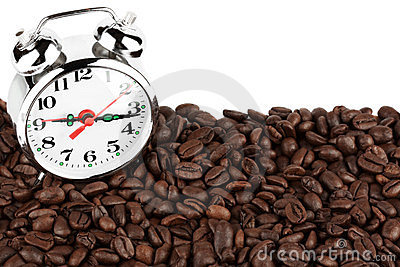 Alarm clock on a coffee