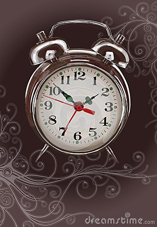 Alarm clock -  color paint & floral ornament