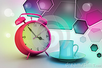 Alarm clock with cup of tea