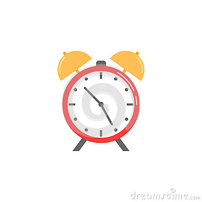 Alarm clock flat icon, school and office element Vector Illustration