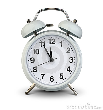 Free Alarm Clock Isolated On White, Clipping Path. Five Minutes To Tw Stock Image - 84895671