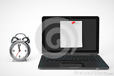Alarm Clock with Laptop computer and blank note paper