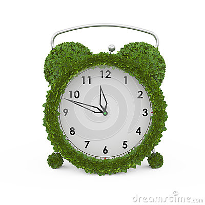 Alarm clock made from fresh leaves