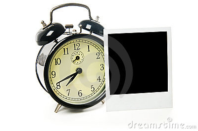 Alarm clock and polaroid frame