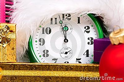 Alarm clock with santa hat