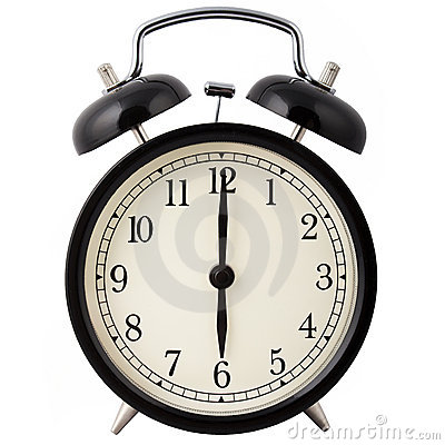 Alarm clock showing six o clock.