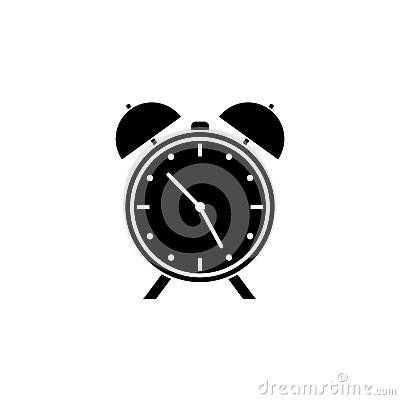 Alarm clock solid icon, school and office element, Vector Illustration