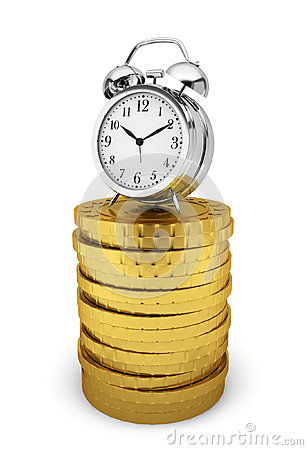 Alarm clock on stack of coins. Time is money concept
