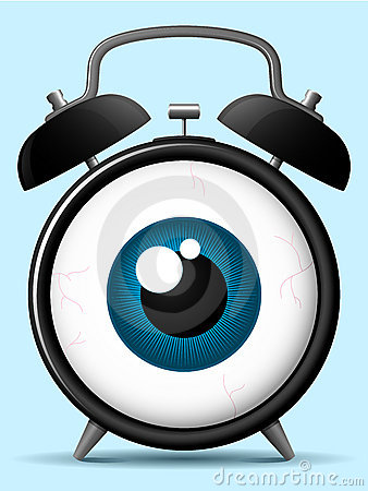 Alarm clock with staring eyeball