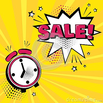 Alarm clock with white comic bubble with SALE word on yellow background. Vector illustration Cartoon Illustration