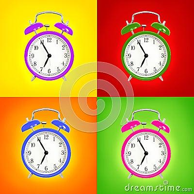Free Alarm Clocks Isolated On Colorful Background Royalty Free Stock Image - 32613056