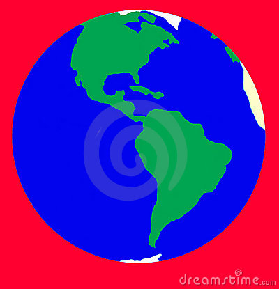 Alarm of Earth planet. Isolated on red.