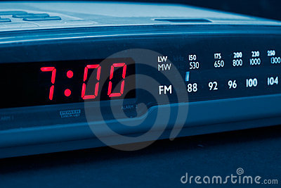 Alarm radio clock. Time to wake up