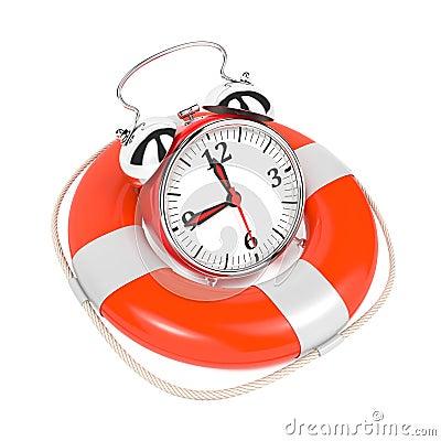 Free Alarmclock In Lifebuoy On White Background. Stock Photography - 28249082
