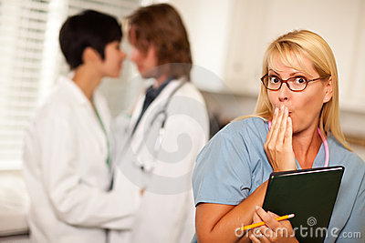 Alarmed Medical Woman Witnesses Colleagues Romance
