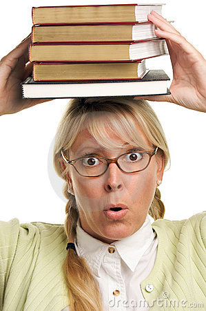 Alarmed Woman Carries Stack of Books on Head