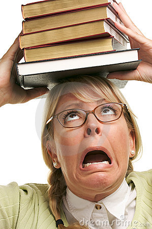 Alarmed Woman Under Stack of Books on Head