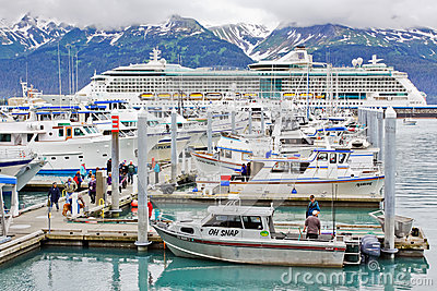 Alaska Colorful Seward Small Boat Harbor Editorial Stock Image