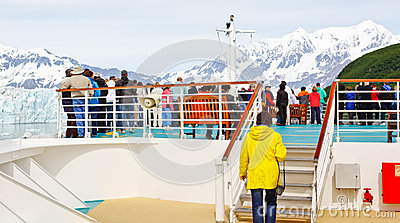Alaska Cruise Passengers on the Bow for Glacier Editorial Stock Image