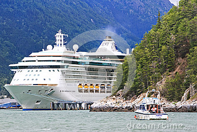 Alaska Cruise Ship and Fishing Boat Skagway Editorial Stock Image