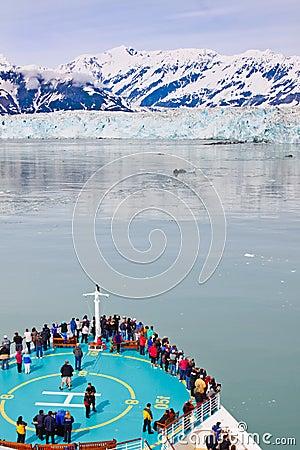 Alaska Cruise Ship at Hubbard Glacier Editorial Stock Photo