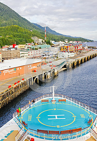 Alaska Cruise Ship in Ketchikan Editorial Stock Image
