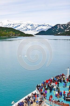 Alaska Cruise Ship Nearing Hubbard Glacier Editorial Image