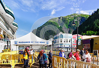 Alaska - Cruise Ship Passengers Juneau Editorial Stock Photo