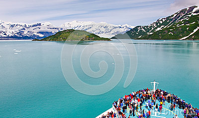Alaska Cruise Ship Sailing to Hubbard Glacier Editorial Stock Photo