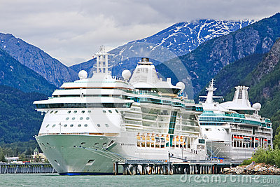 Alaska Cruise Ships Radiance, Rhapsody, Skagway Editorial Photo