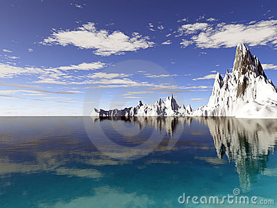 Alaska glaciers with water reflection
