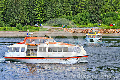 Alaska Icy Strait Point Cruise Ship Tender Boats Editorial Image