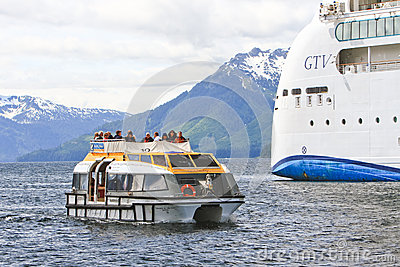 Alaska Icy Strait Point Tender Boat Editorial Photography